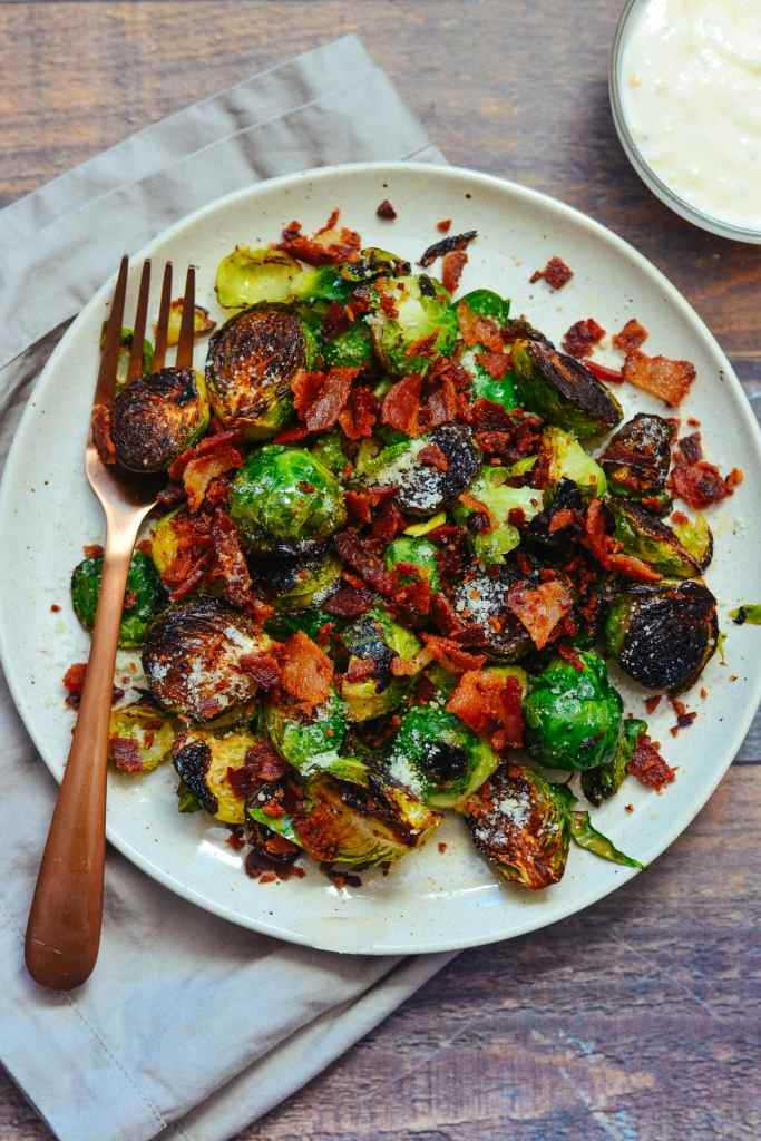 Pan Fried Brussels Sprouts With Bacon Parmesan And