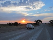driving africa sunset