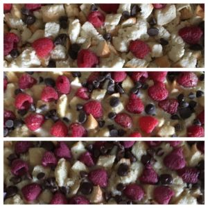 Raspberry dark chocolate bread pudding stages
