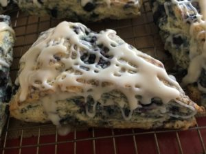 Wild blueberry and lavender scone single baked iced
