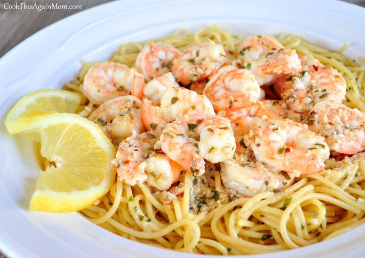 Lemon Fennel Shrimp with Spaghetti