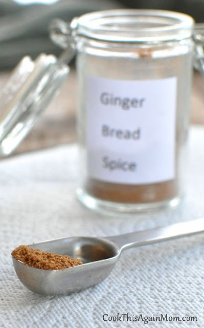 gingerbread spice mix in a jar next to a measuring spoon