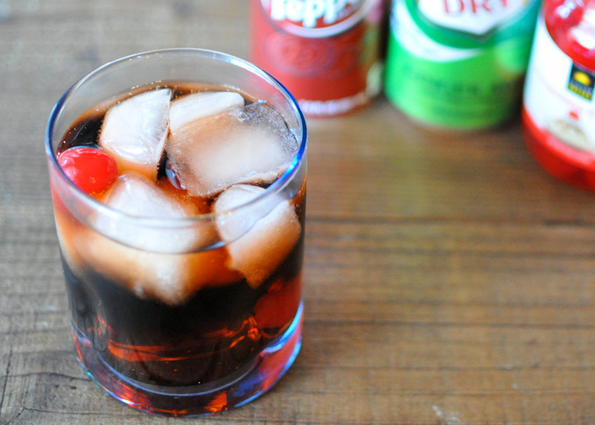 Dr. Pepper Surprise in a glass with ice