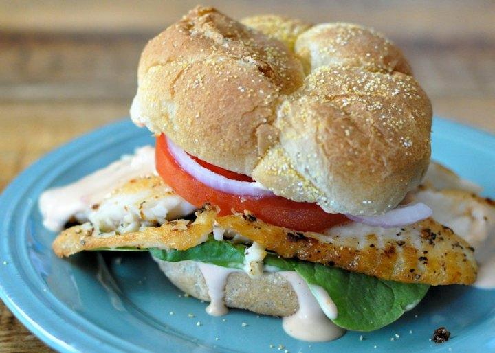 Tilapia Sandwich with Fresh Citrus Sauce