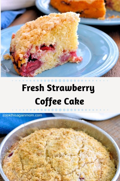 A delicious coffee cake using fresh strawberries with a crisp crumb topping. Perfect for breakfast, snack or dessert.
