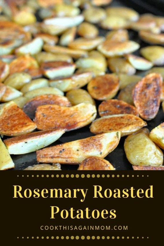 pinterest image for rosemary roasted potatoes