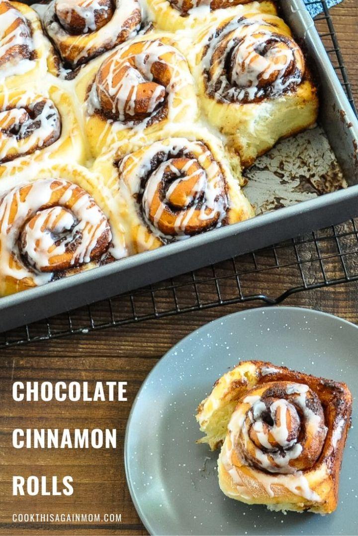 pinterest image for cocoa cinnamon rolls