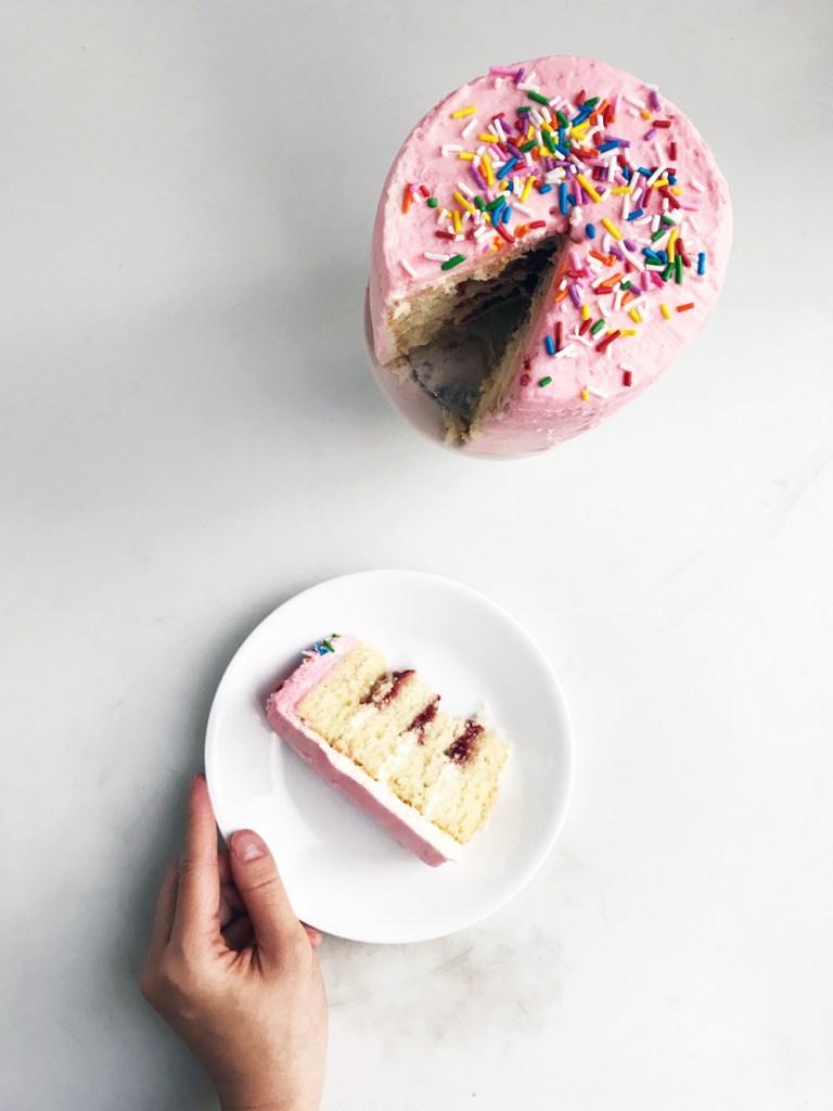 mini vanilla cake sliced
