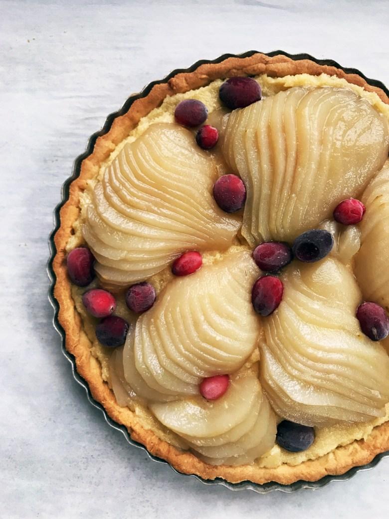 pear cranberry frangipane tart unbaked