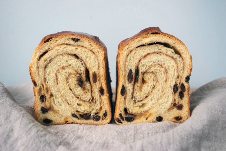 side by side swirl bread