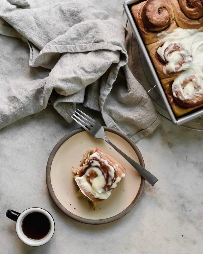 malted cinnamon roll breakfast scene