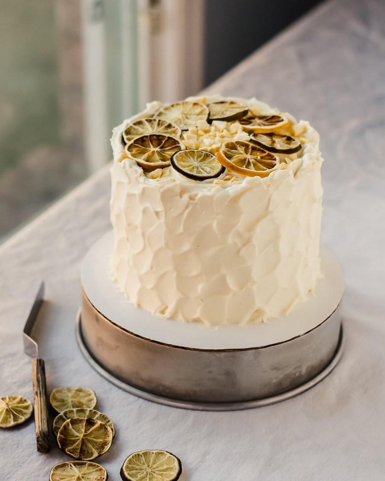 lime chiffon cake with offset spatula