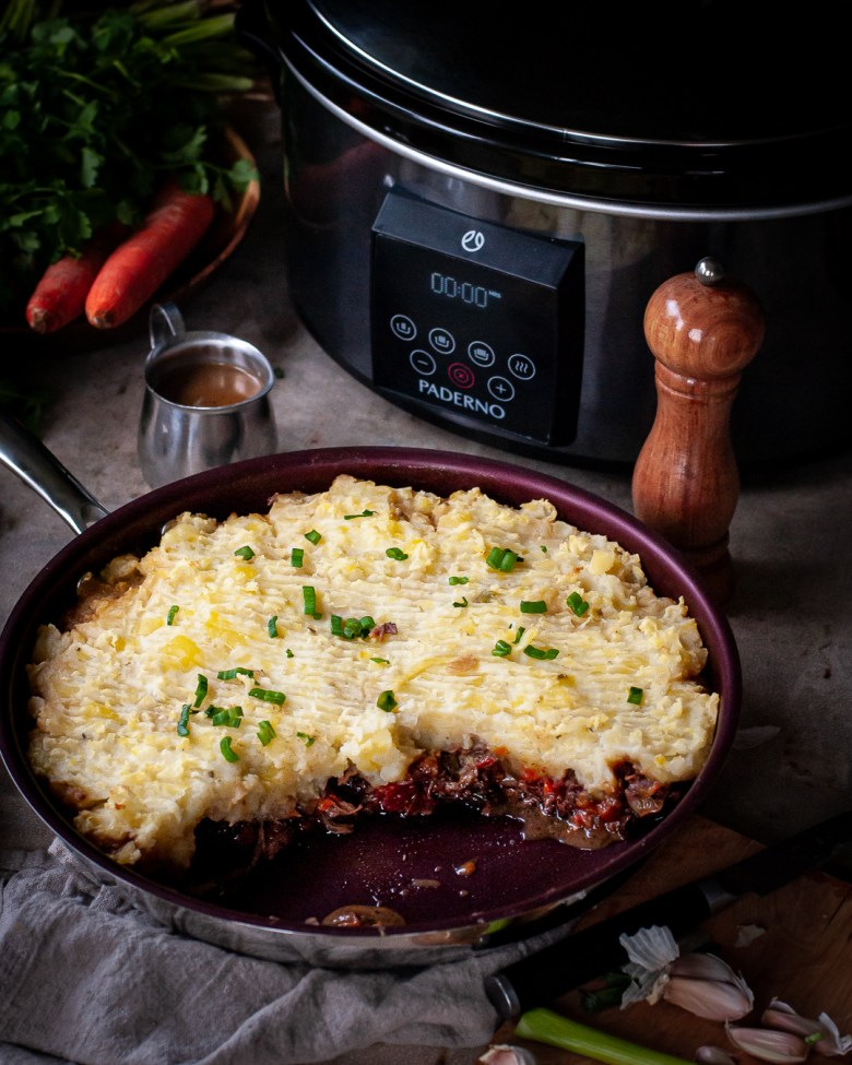 beef rib shepherd's pie in pan