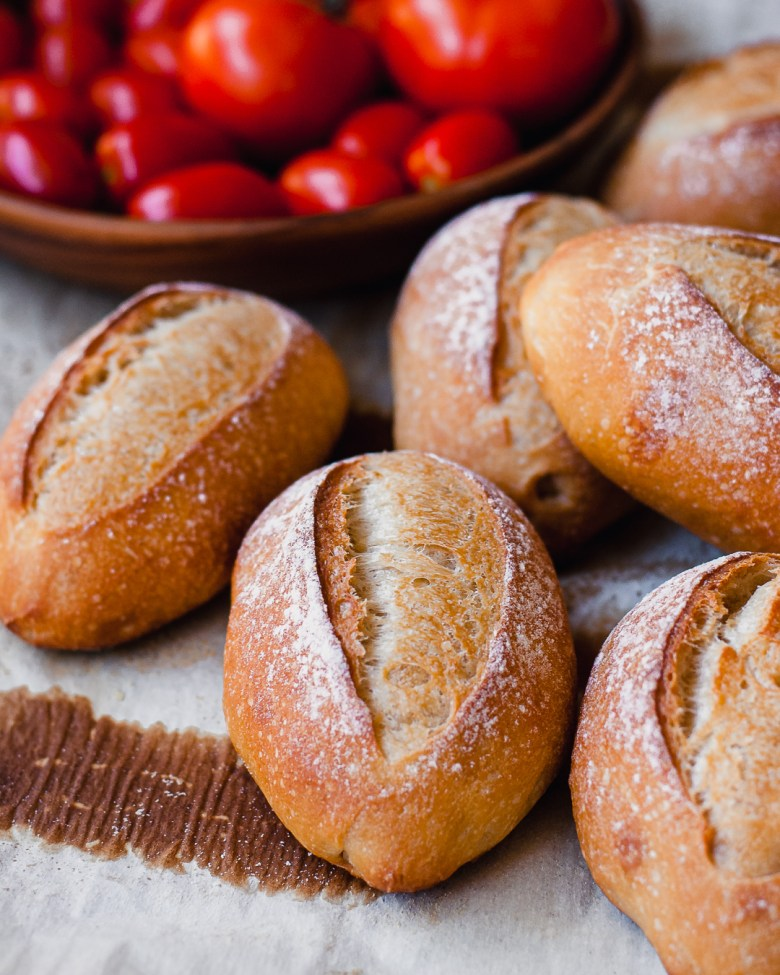 sourdough italian rolls with tomatoes