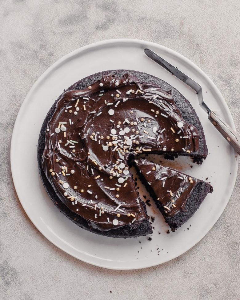 sourdough chocolate cake sliced