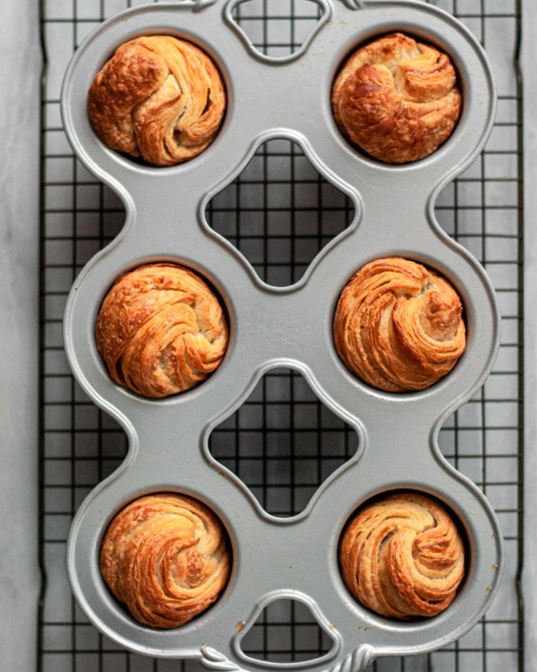 baked cruffins in tin