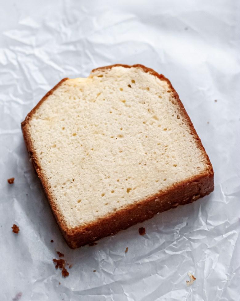 plush sour cream pound cake slice