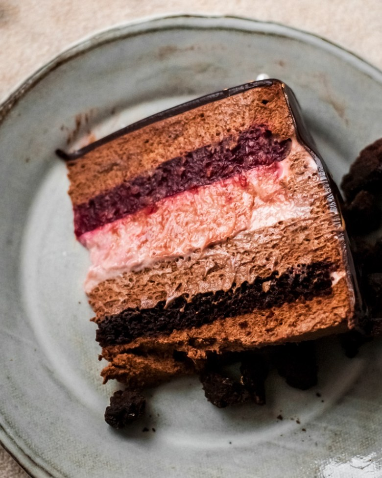 chocolate raspberry mousse cake slice