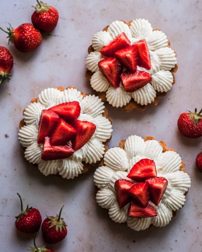 strawberry sable breton tartlets