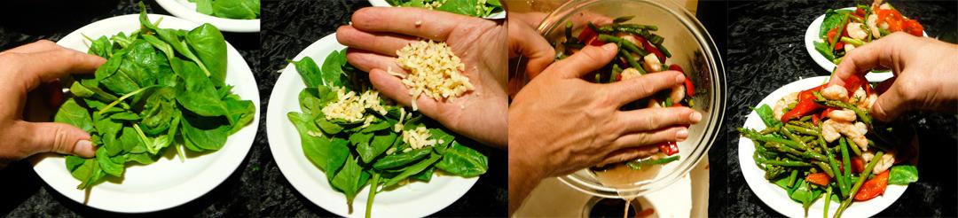 shrimp asparagus salad assemble