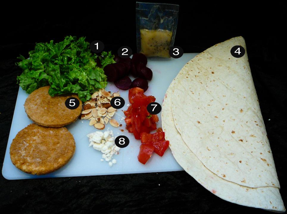 veggie burger wrap prep
