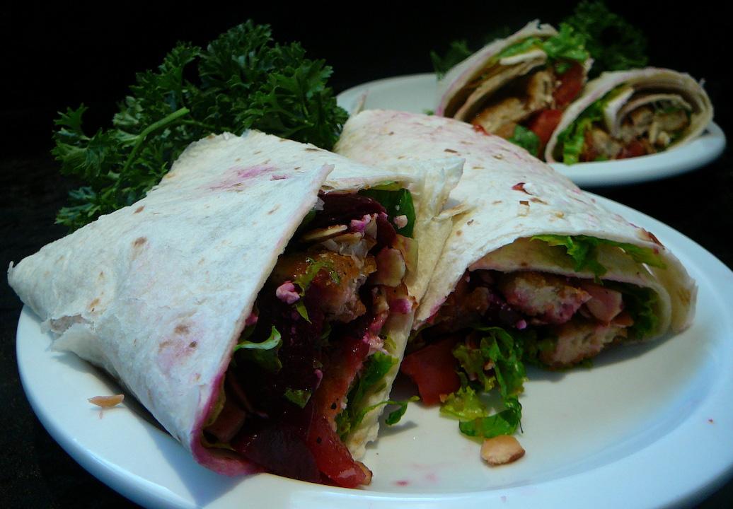 veggie burger wrap served