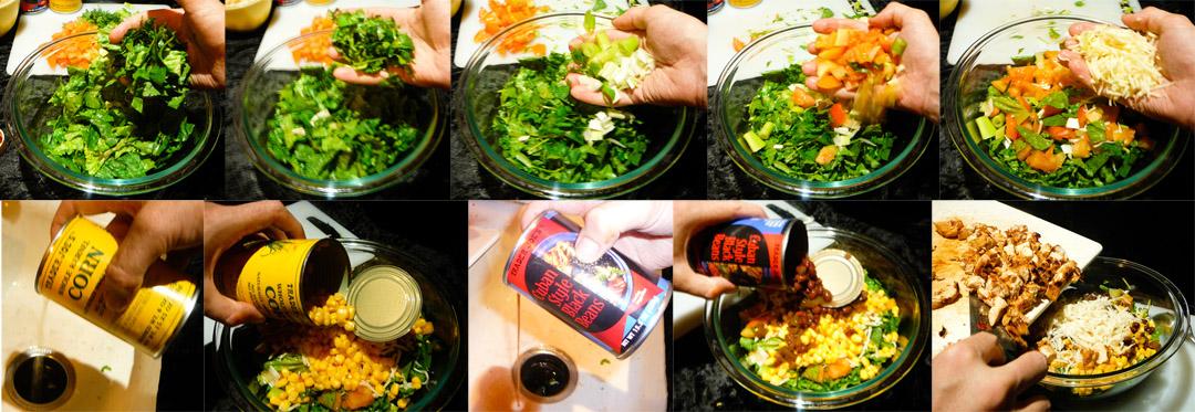 bbq chop chicken salad assemble