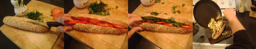 denver egg sinwich assemble