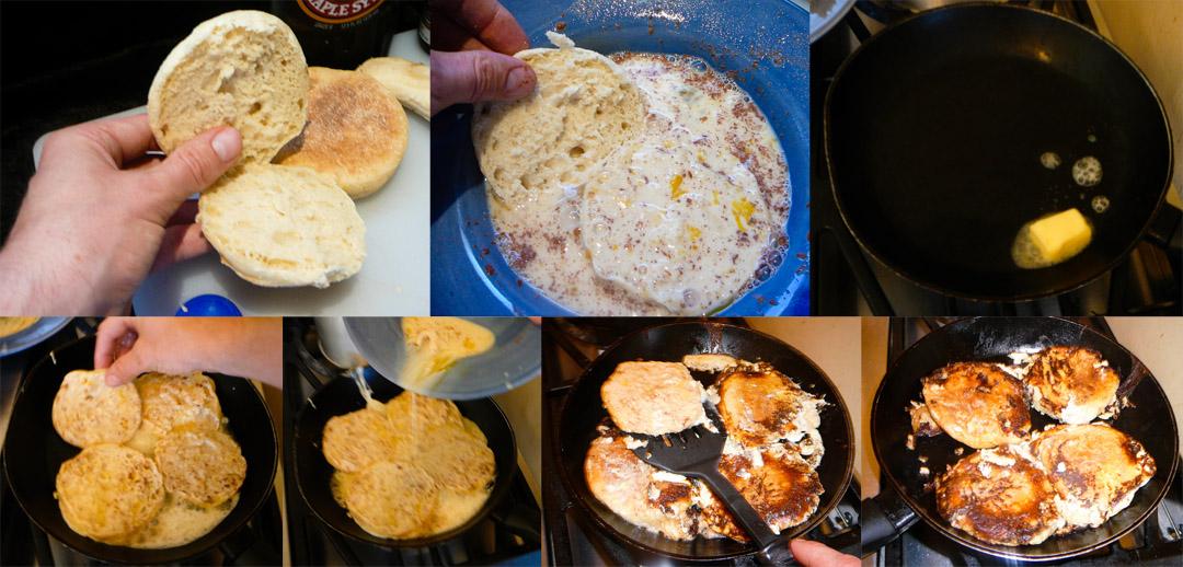 frenching your english muffin pan
