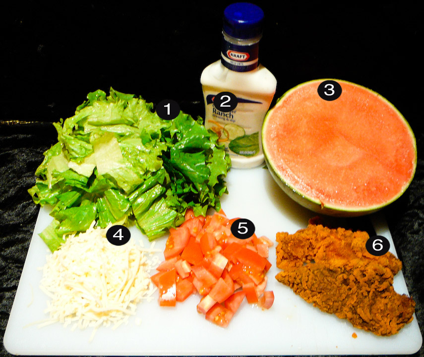 fried chicken salad prep