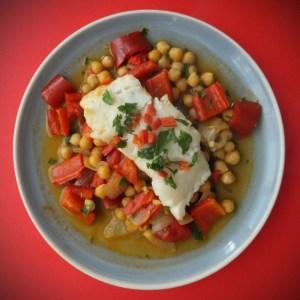Spanish fish and chickpea stew