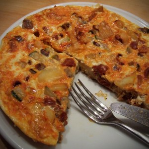 Spanish omelette with chorizo and courgette