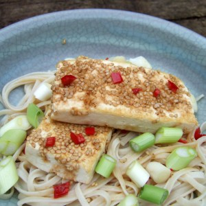 Sesame-crusted tofu with noodles