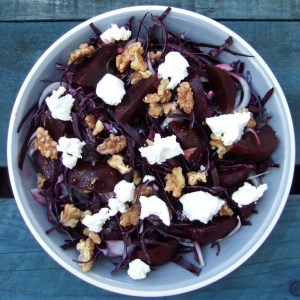 Red cabbage, beet and goats' cheese salad