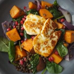 Roasted sweet potato, lentil and spiced halloumi salad