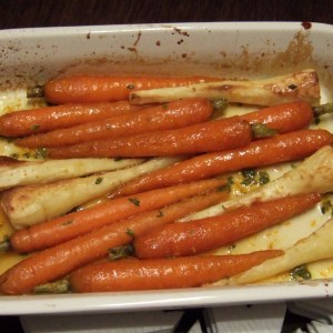 Roasted carrots and parsnips with maple and orange glaze