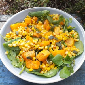 Roasted squash and spiced sweetcorn salad