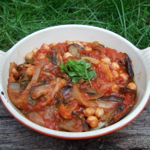 Spiced aubergine and chickpea stew