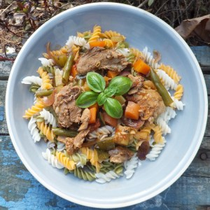 Duck and vegetables pasta