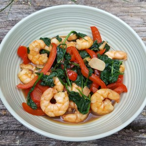 Prawns, red pepper and spinach stir-fry