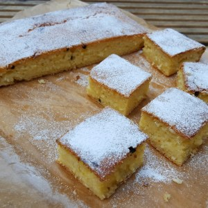 Coconut and passion fruit traybake