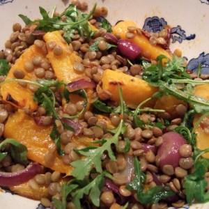 Roasted squash and harissa lentil salad