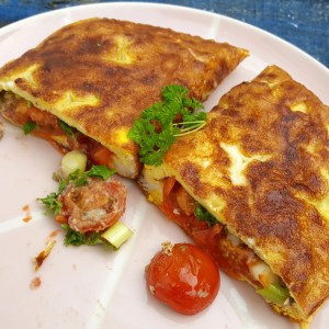 Tomato and anchovy omelette