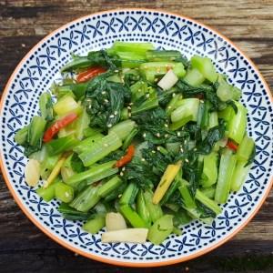 Mustard greens stir-fry