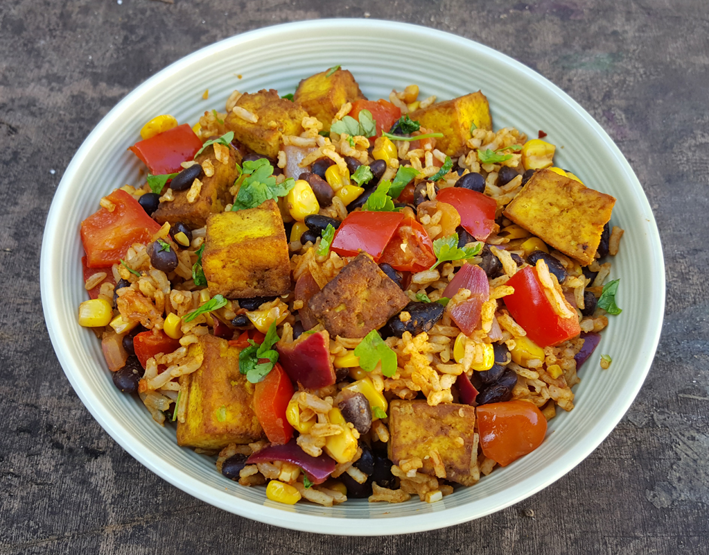 Black bean & rice salad with spiced tofu