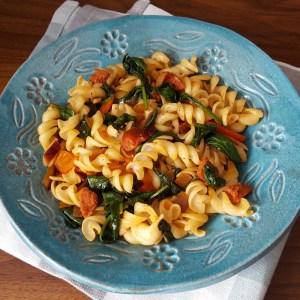 Chorizo and spinach pasta