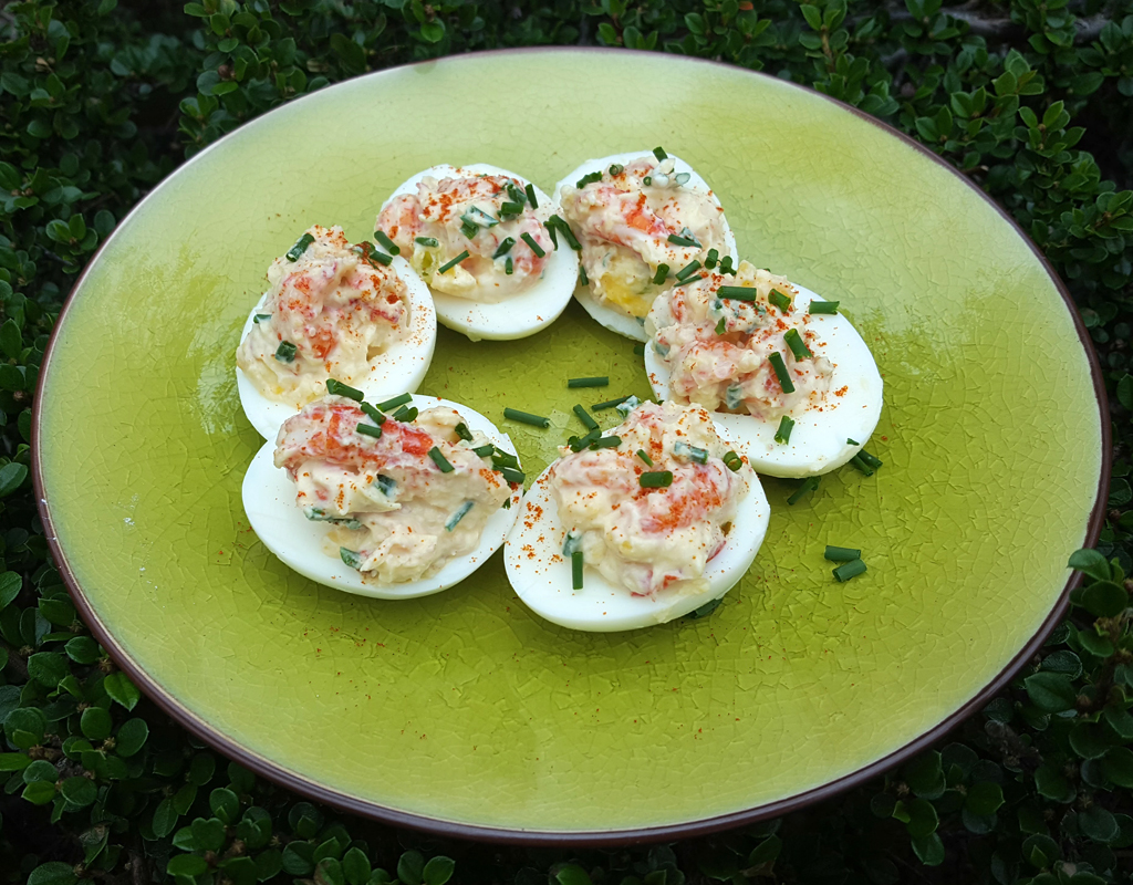 Crayfish-stuffed devilled eggs