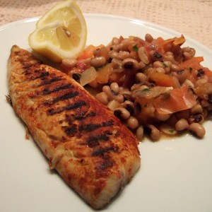 Grilled mackerel with tomato and bean sauce