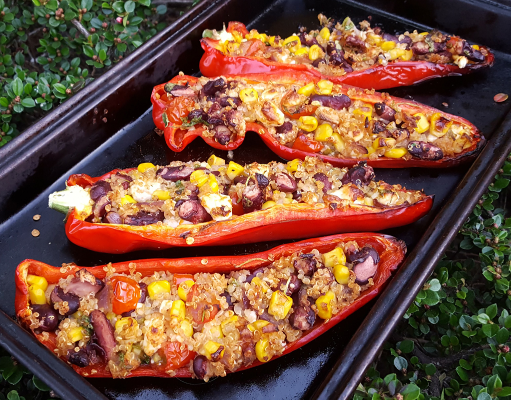Spicy vegan stuffed romano peppers