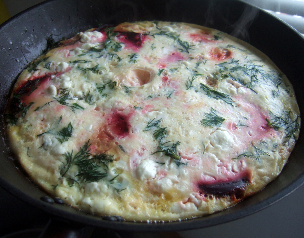 Beetroot and feta frittata